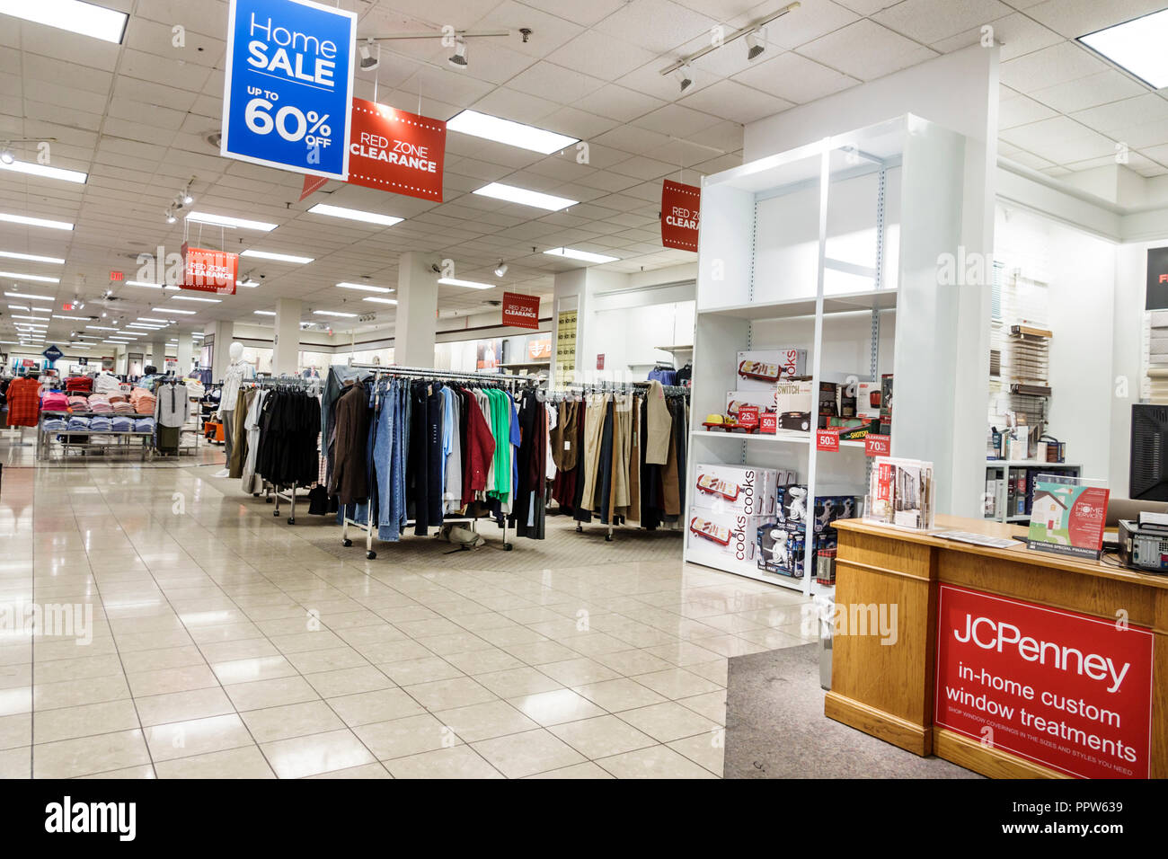 Miami Florida Kendall Dadeland Mall JC J.C. Penny Department Store shopping inside sale display - Stock Image