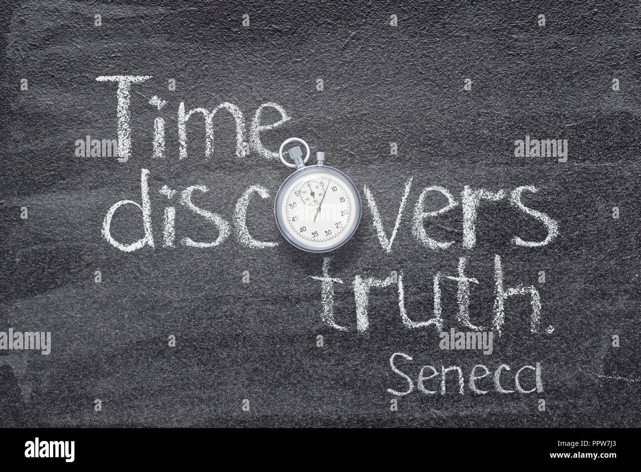 Time discovers truth - quote of ancient Roman philosopher Seneca written on chalkboard with vintage stopwatch instead of O - Stock Image