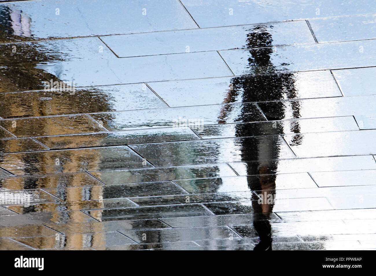 Blurry reflection shadow silhouette in a puddle of a young man walking on rainy city street after rain Stock Photo