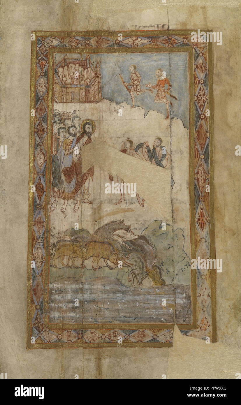 The Miracle of the Gadarene Swine; Canterbury, ?, England; about 1000; Tempera colors, gold leaf, and ink on parchment; Leaf - Stock Image
