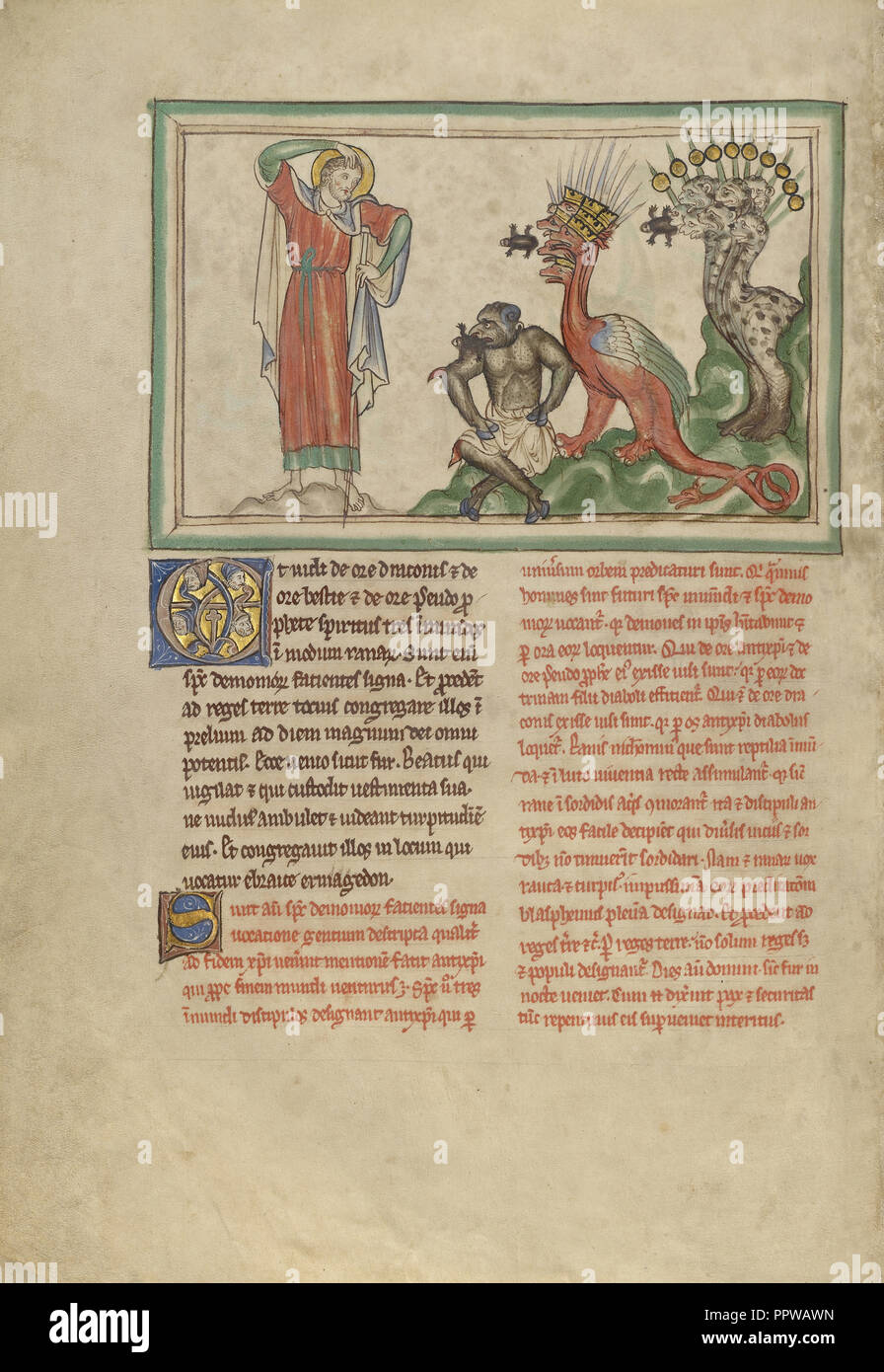 Unclean Spirits Issuing from the Mouths of the Dragon, the Beast, and the False Prophet; London, probably, England; about 1255 - Stock Image