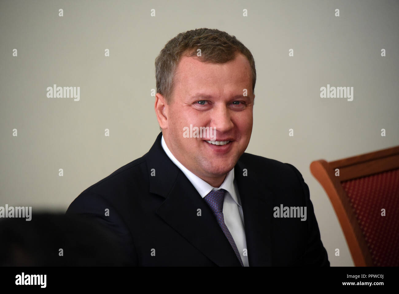 Acting governor of Astrakhan region Sergey Morozov during his presenting to the government of Astrakhan region. Russia. - Stock Image