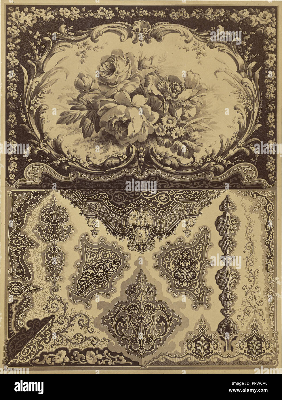 Decorative Pattern; E. Guichard, French, active 19th century, mid - late 19th century; Albumen silver print - Stock Image