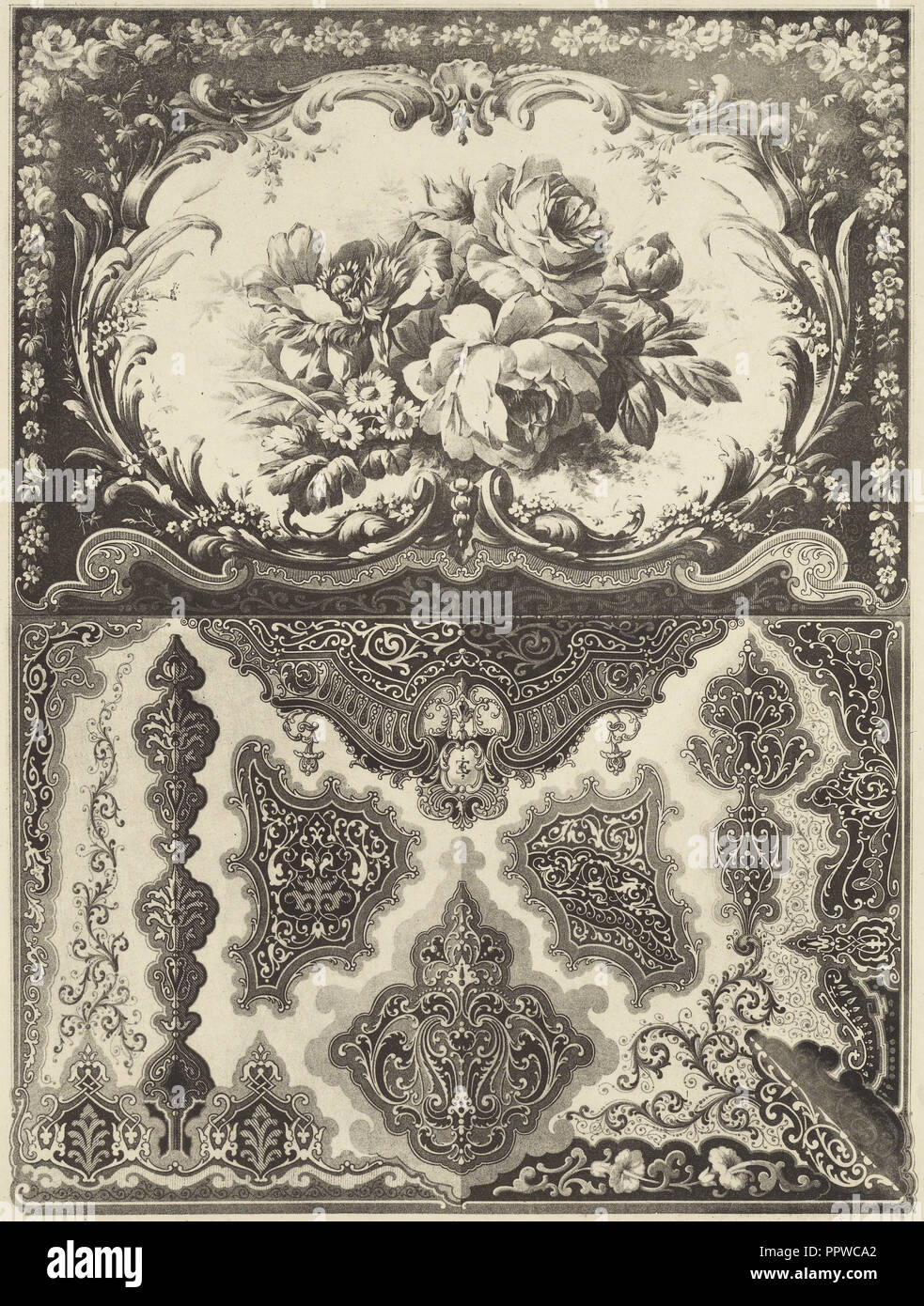Decorative Pattern; E. Guichard, French, active 19th century, mid - late 19th century; Lithograph; 33 x 24.8 cm 13 x 9 3,4 in - Stock Image