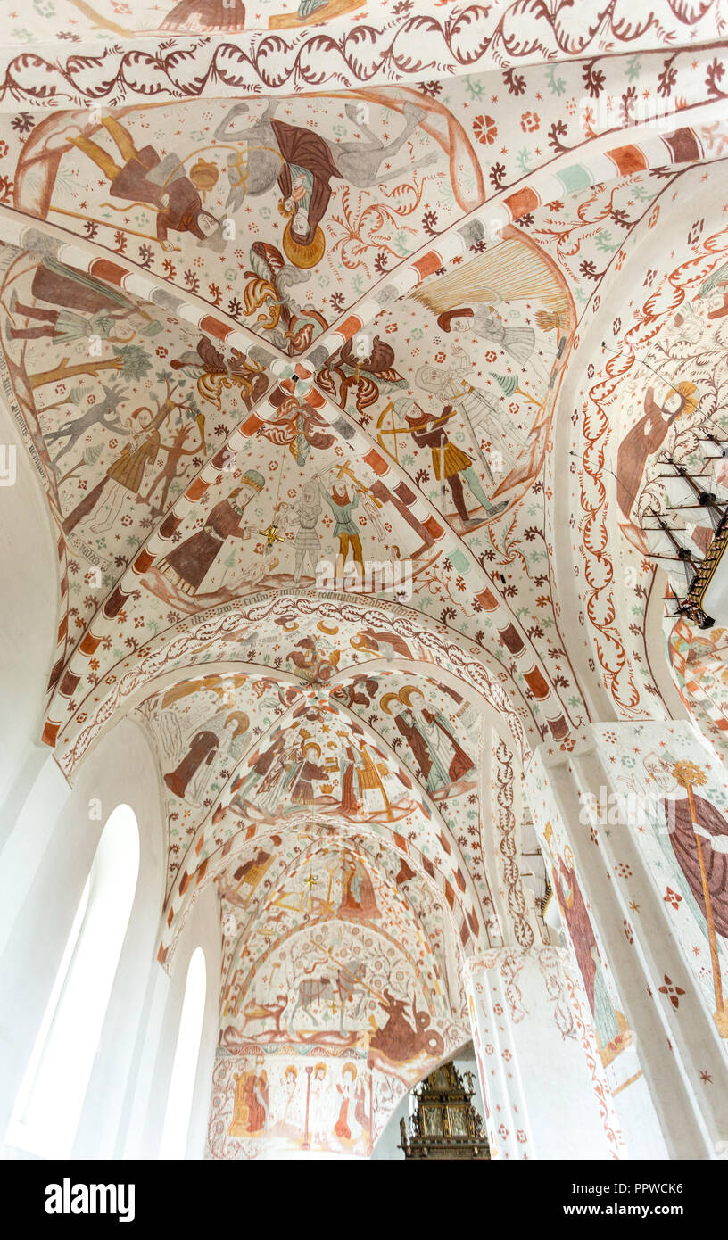 frescos in the Fanefjord Church, by the Elmelunde Master - Stock Image