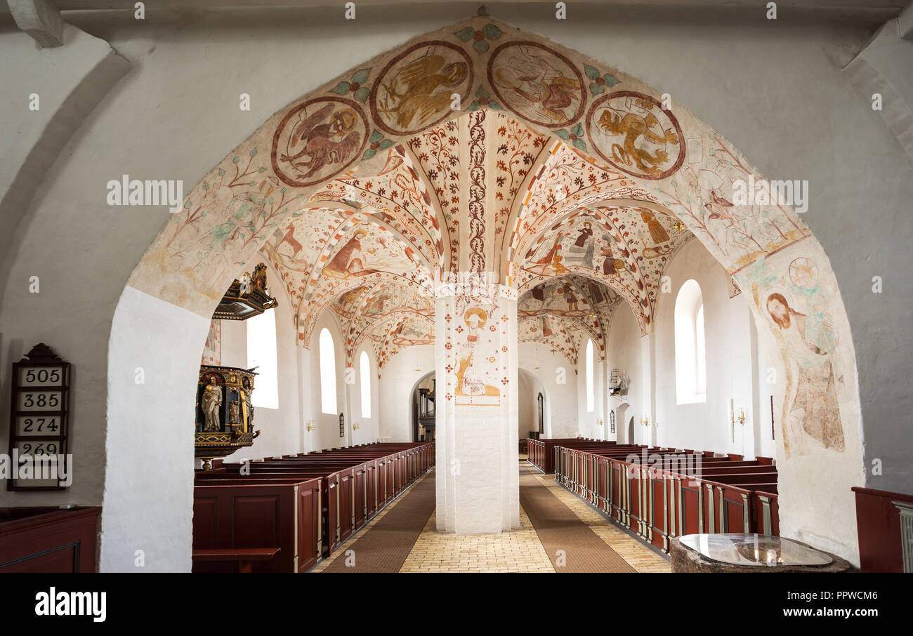 frescos in the central nave of Fanefjord Church, by the Elmelunde Master - Stock Image