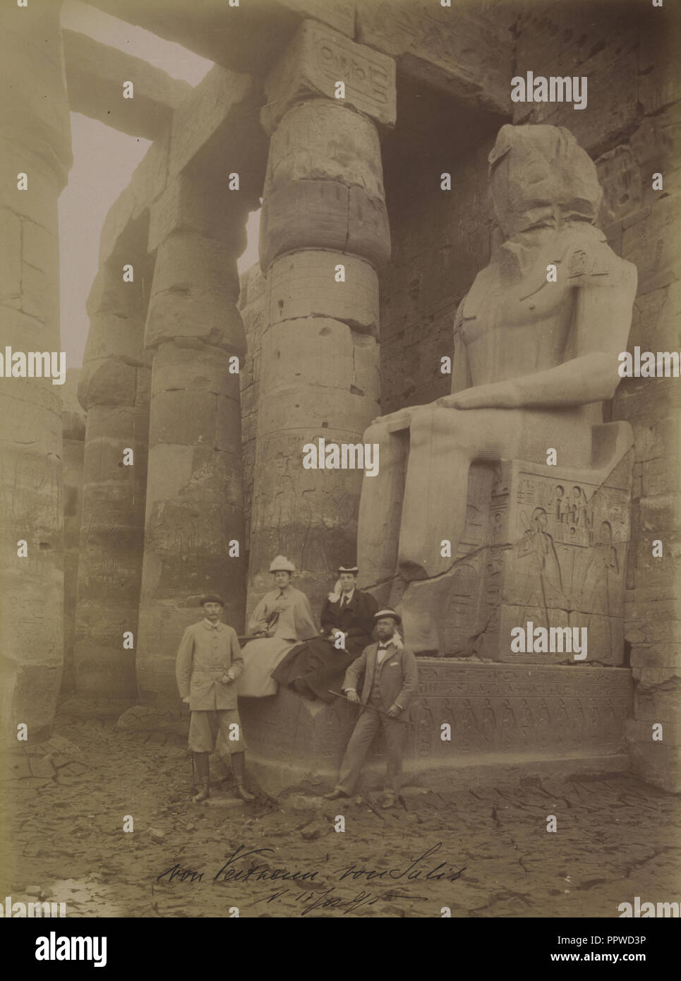 Group at Abydos; Antonio Beato, English, born Italy, about 1835 - 1906, about 1885; Albumen silver print - Stock Image