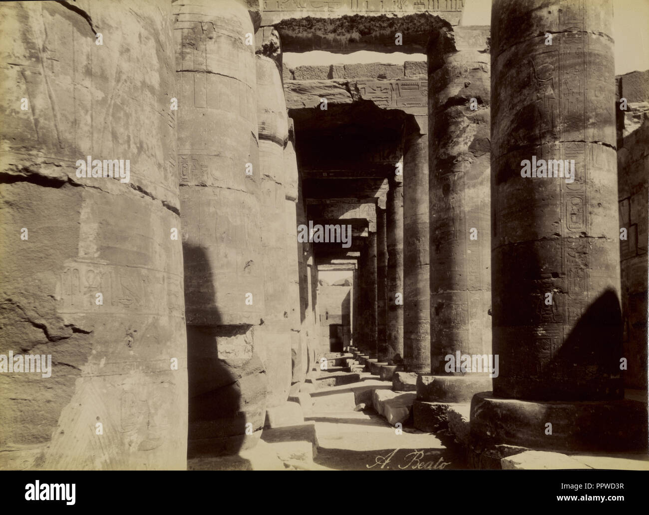 Abydos, Exterior of the Temple , Abydos, Exterieur du Temple; Antonio Beato, English, born Italy, about 1835 - 1906, 1880 - Stock Image