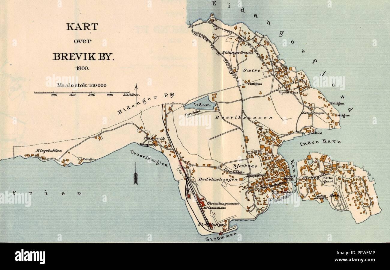 Brevik map 1900. Stock Photo