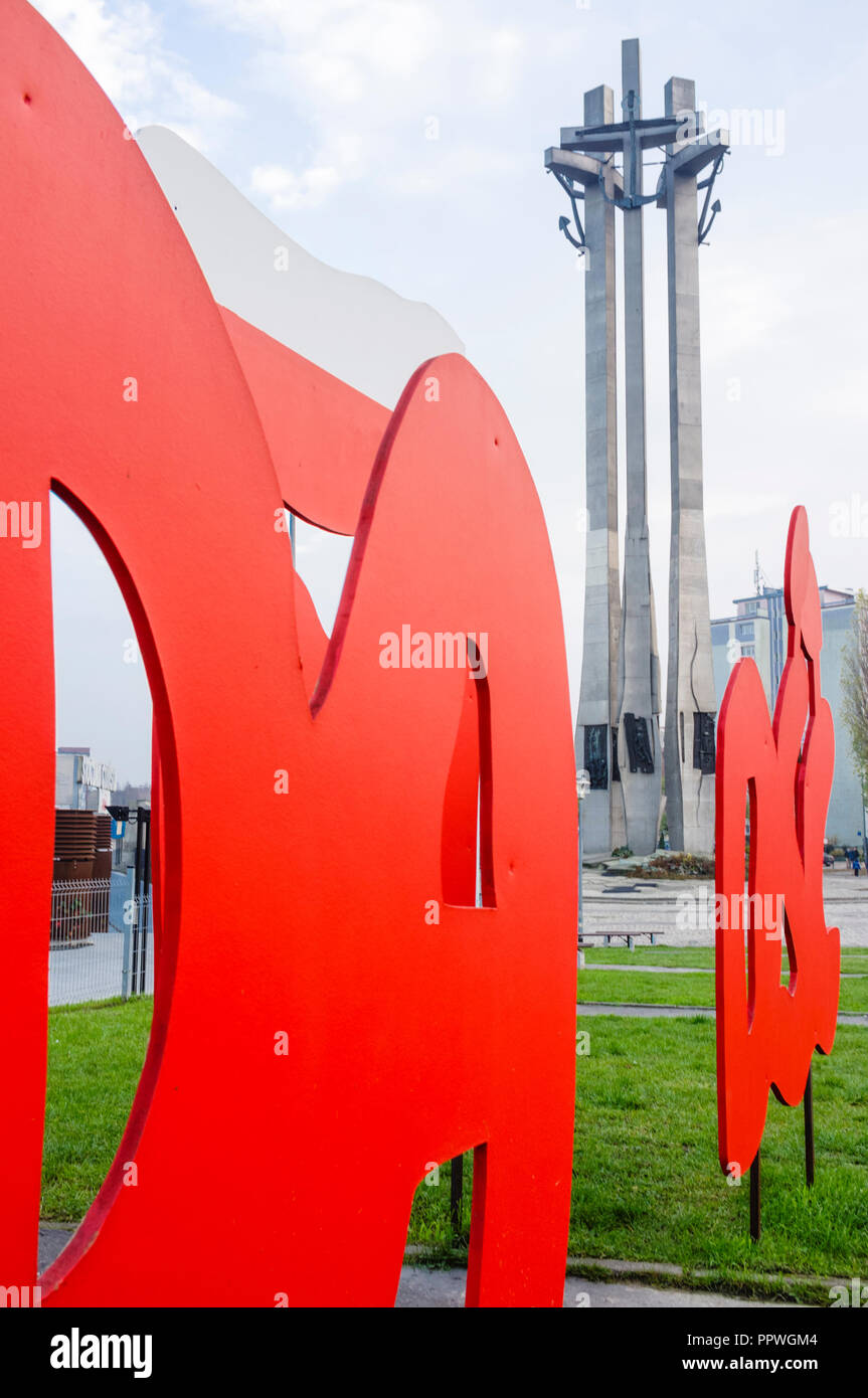 Monument to the Fallen Shipyard Workers of 1970 and European Solidarity Centre devoted to the history of Solidarity, the Polish trade union and civil  - Stock Image