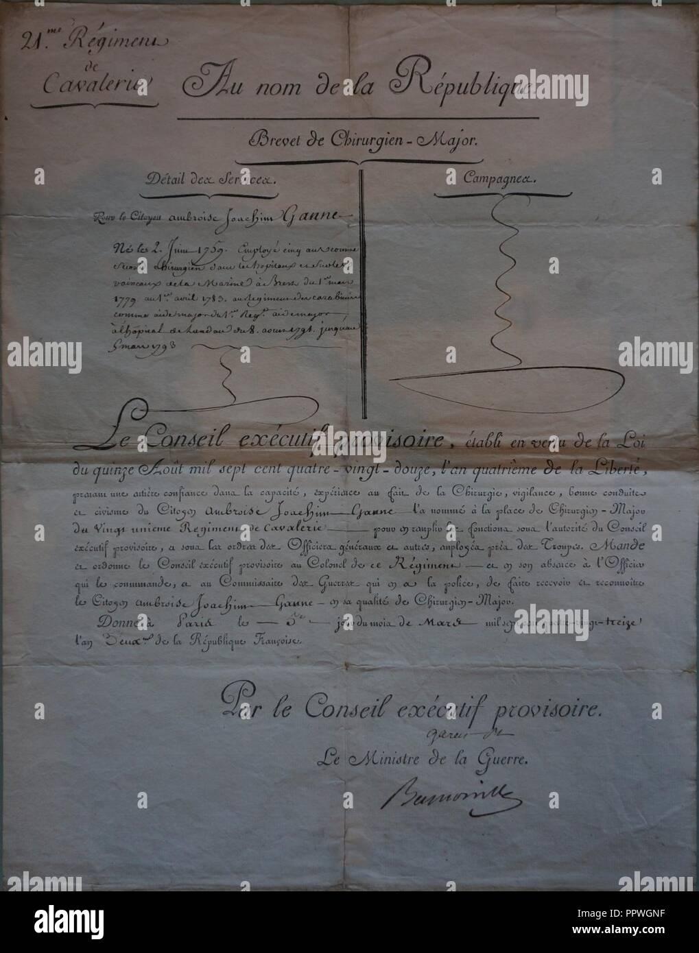 Brevet 1793 de chirurgien major 21e cavalerie 6033. - Stock Image