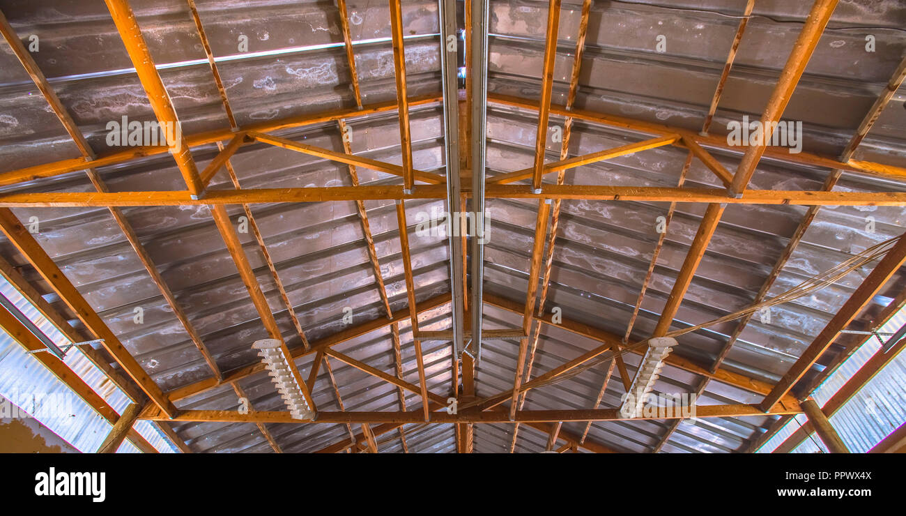 Interior roof structure of an old Barn - Stock Image