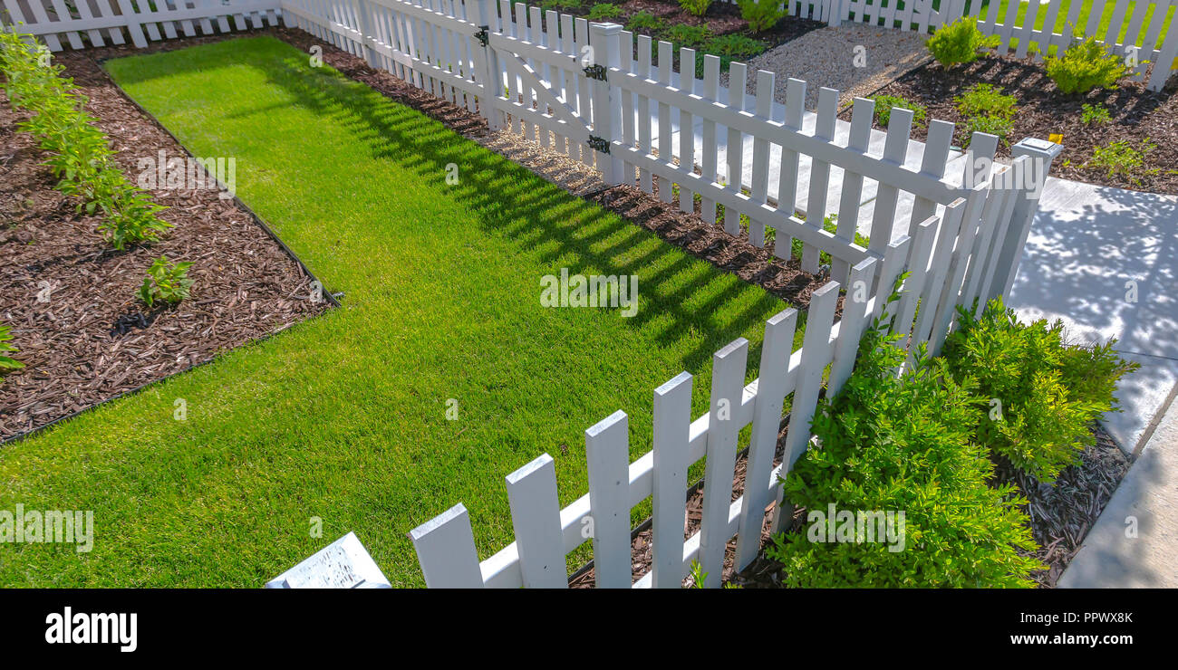 Sunlit yard with lawn white fence and shrubs Stock Photo