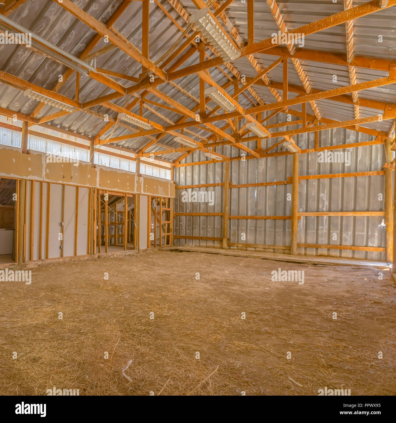 View of a Barn interior with metal roof and wall - Stock Image