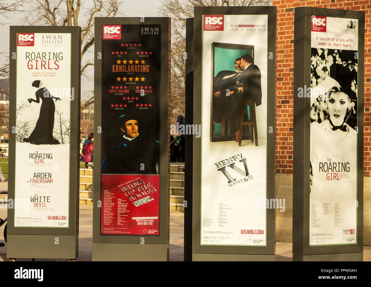 Advertising boards outside Shakespeare Theatre in Stratford upon Avon. - Stock Image
