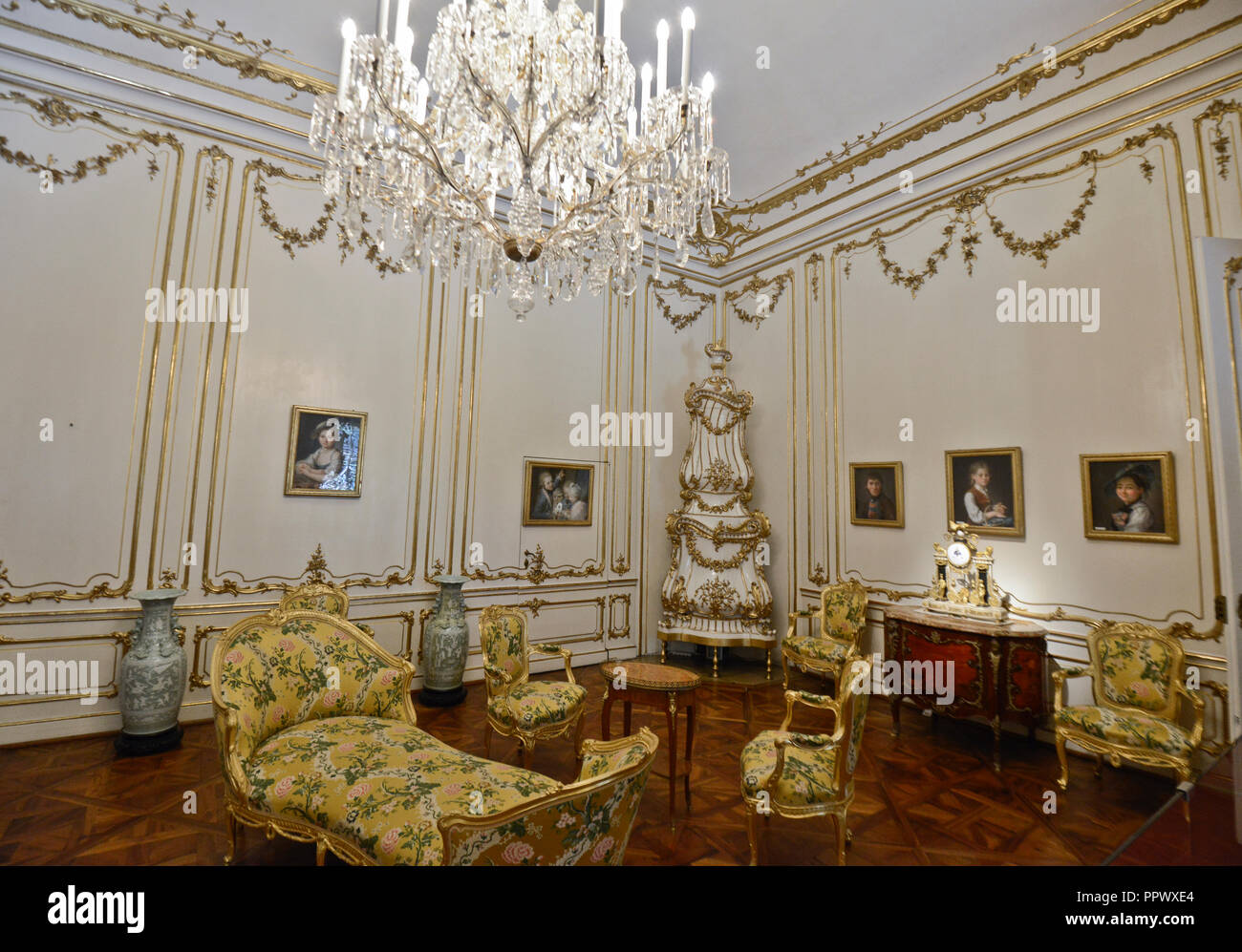 Schönbrunn Palace, interior of a room. Vienna, Austria - Stock Image