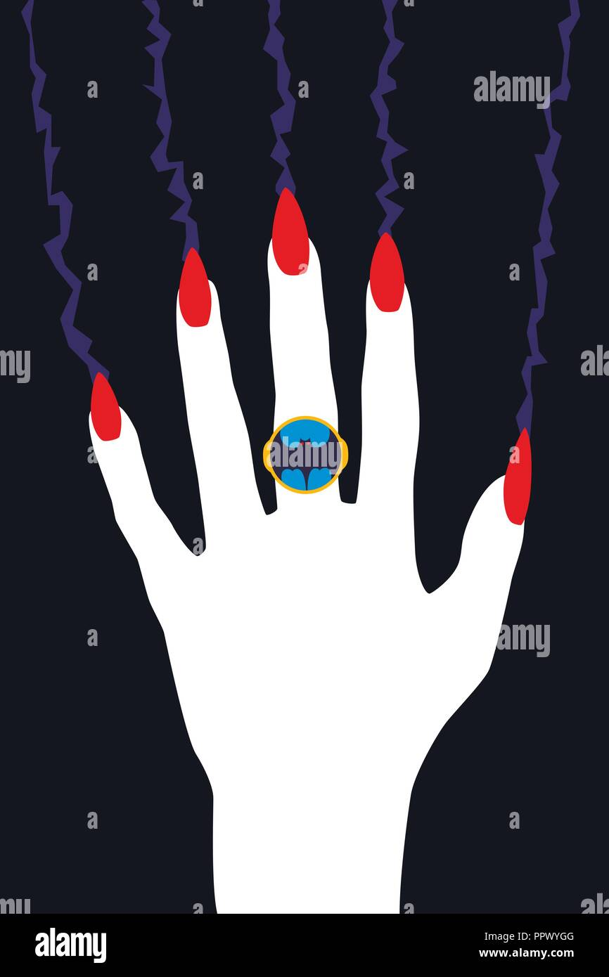Vampire Hand with Red Claws Vector flat art - Stock Vector