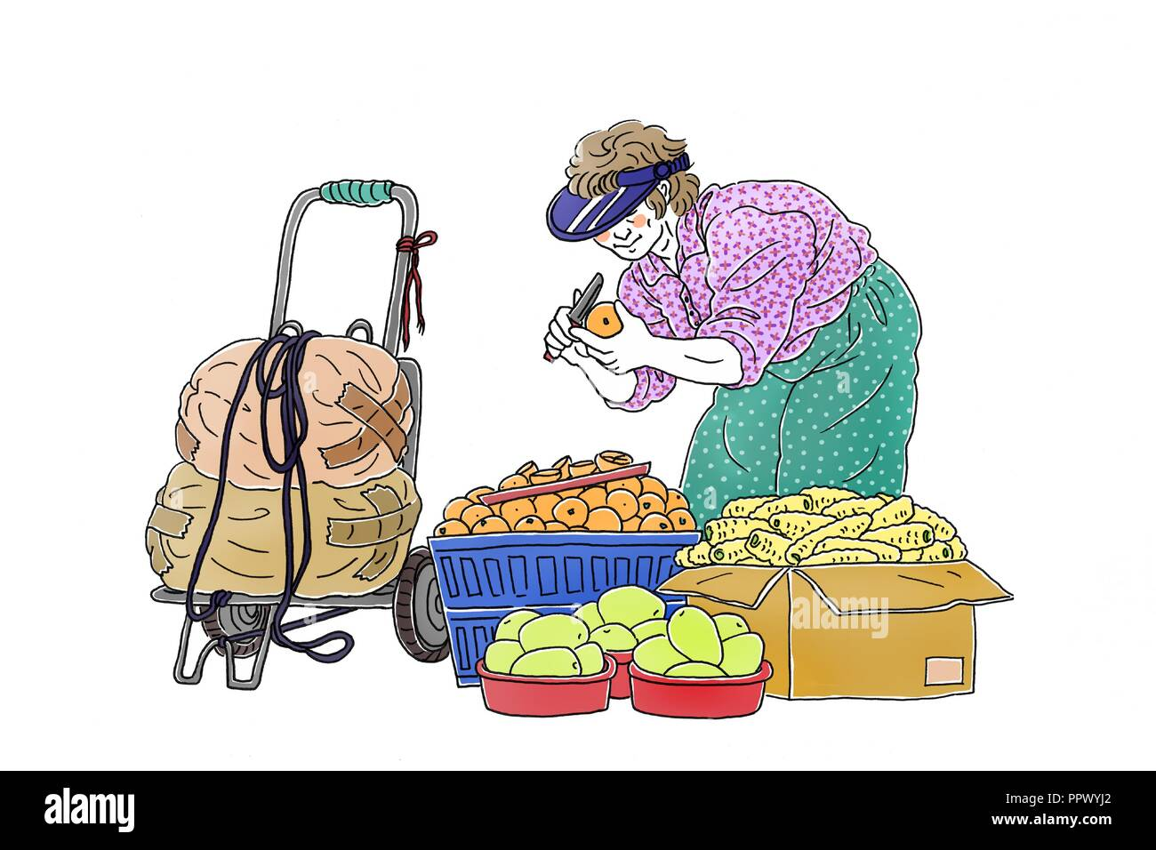 Vector - Korea's traditional market merchants,  Vintage hand drawn illustration. 011 - Stock Image