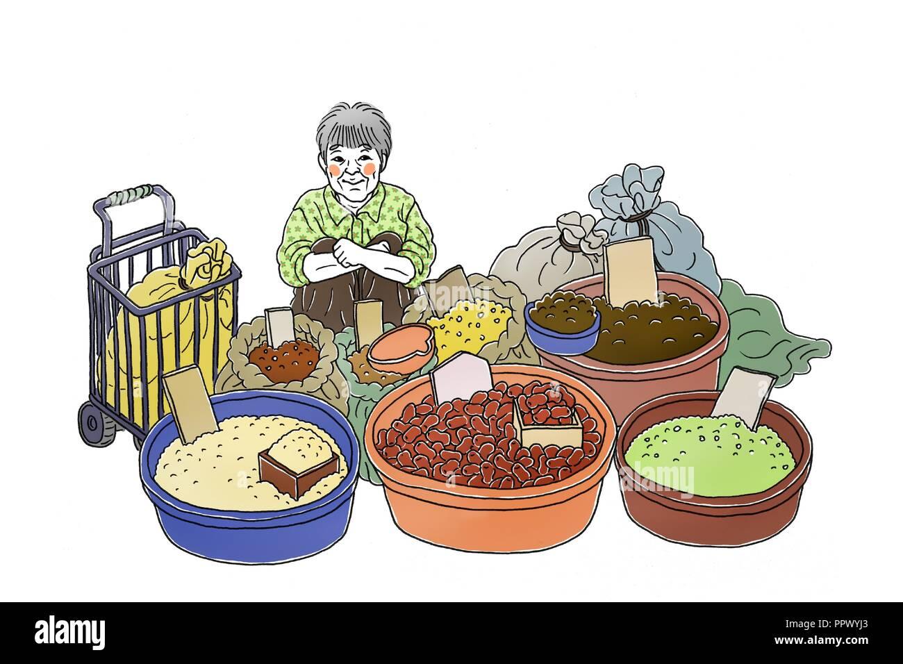 Vector - Korea's traditional market merchants,  Vintage hand drawn illustration. 010 - Stock Image