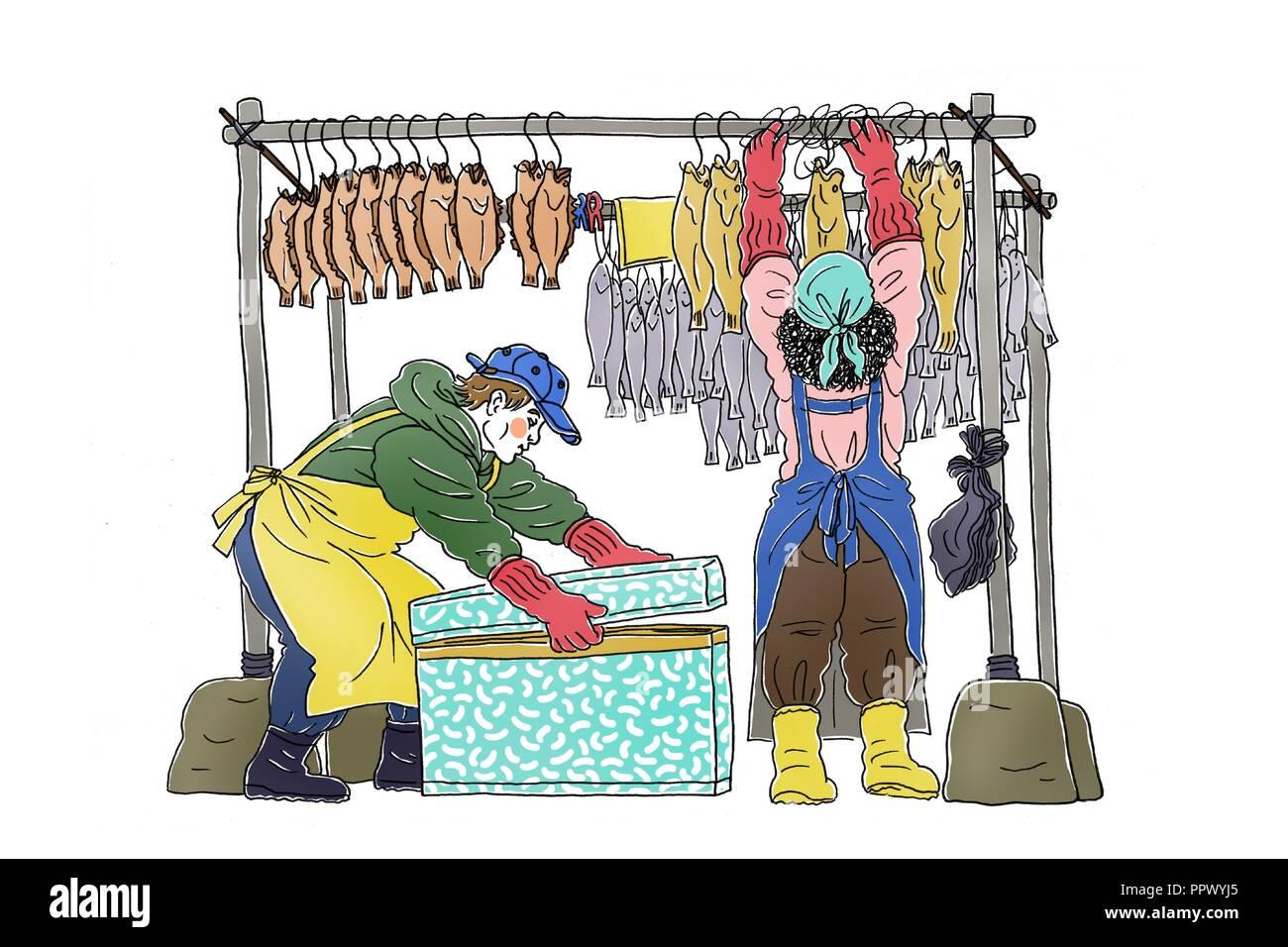 Vector - Korea's traditional market merchants,  Vintage hand drawn illustration. 009 - Stock Image