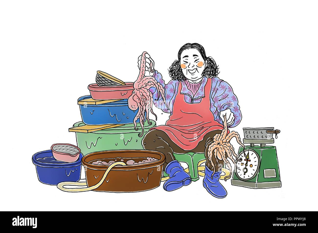 Vector - Korea's traditional market merchants,  Vintage hand drawn illustration. 008 - Stock Image