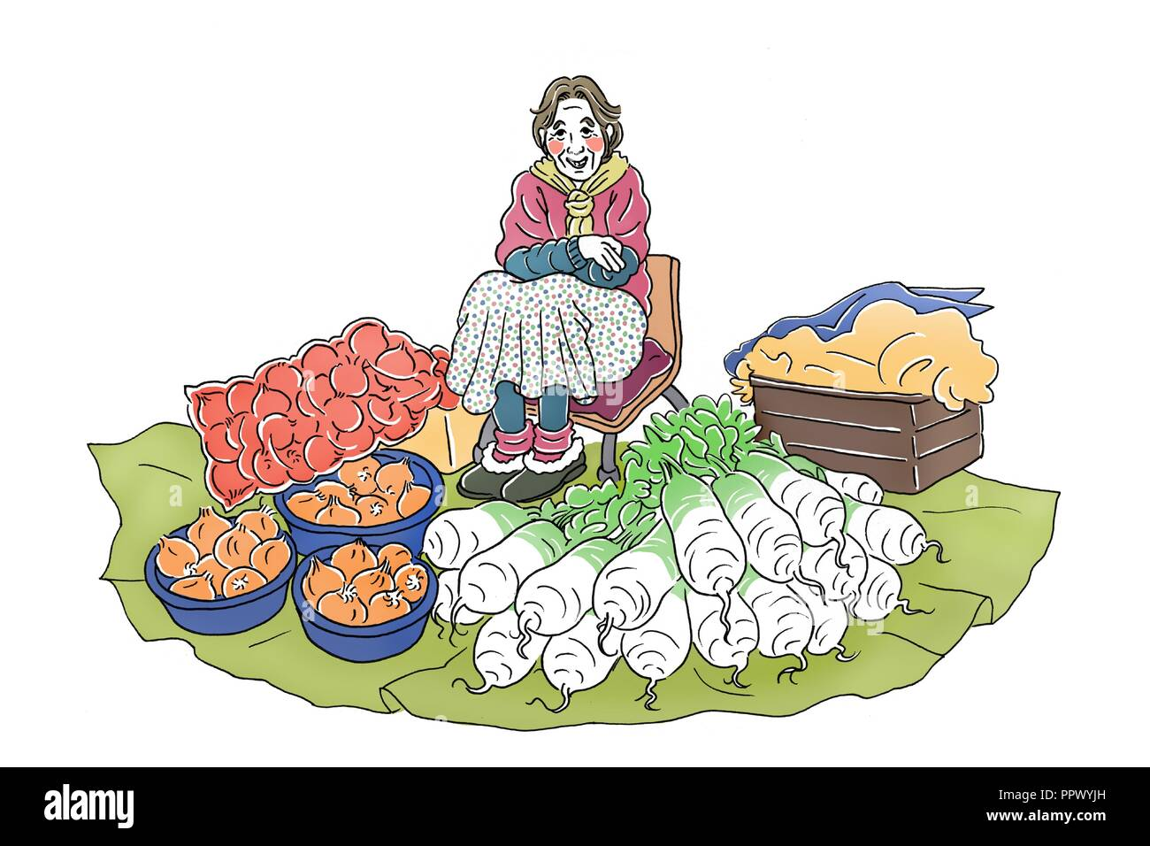 Vector - Korea's traditional market merchants,  Vintage hand drawn illustration. 002 - Stock Image