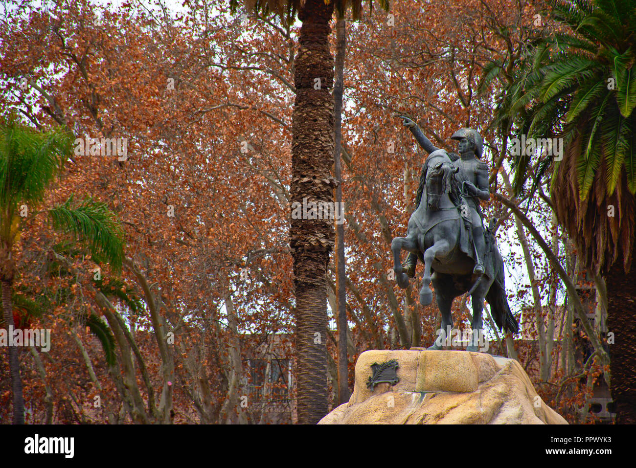 Statue of the General San Martín at Plaza San Martín in Mendoza - Argentina - Stock Image