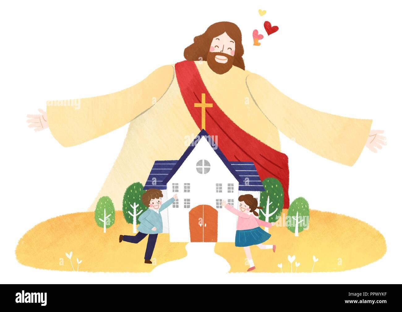 The bible school of Jesus with children vector illustration