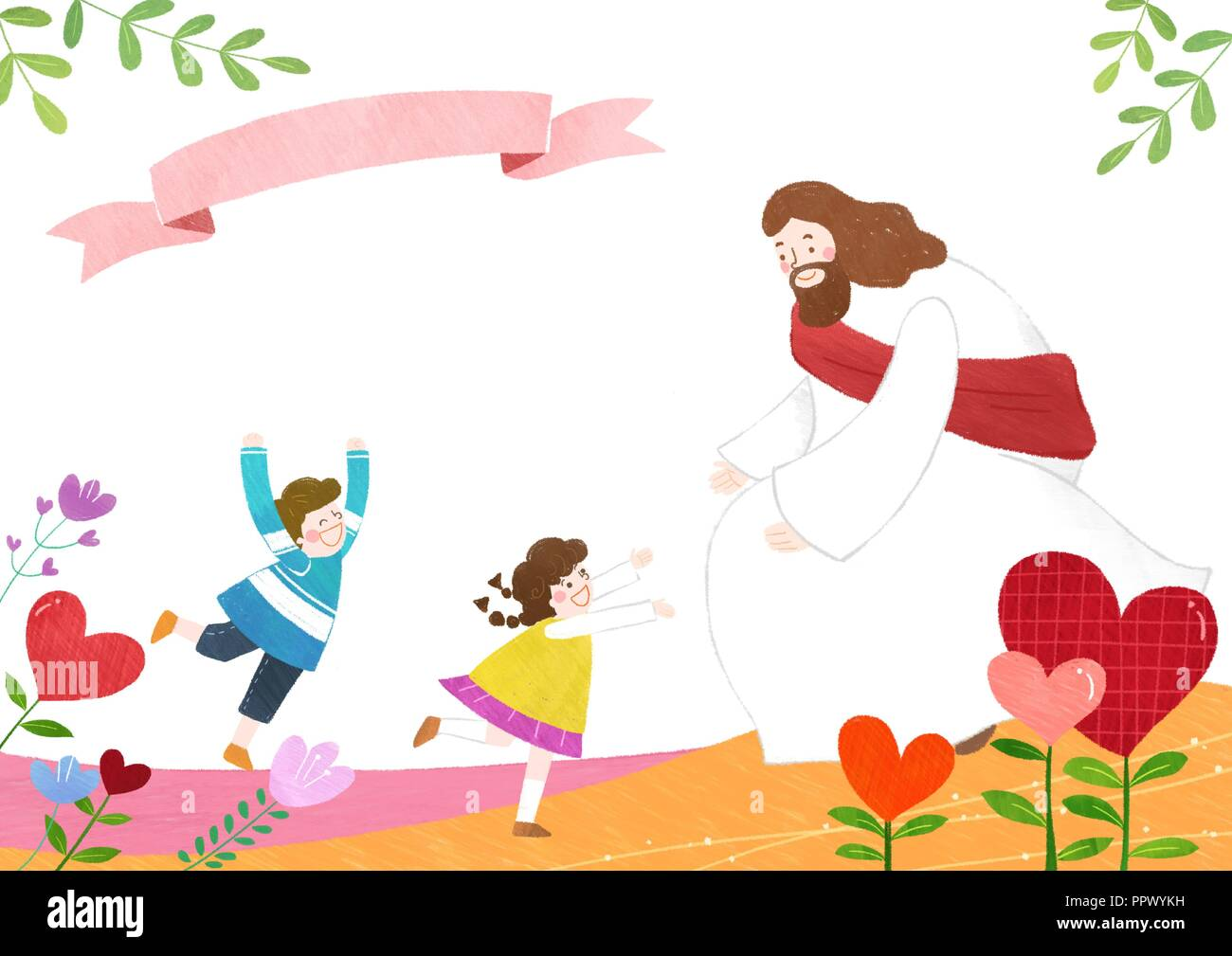 The bible school of Jesus with children vector illustration