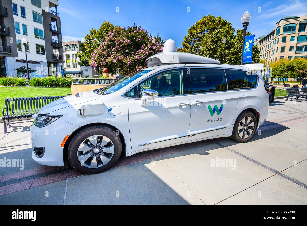 September 27, 2018 Sunnyvale / CA / USA - Close up of Waymo self driving car displayed at 'Sunnyvale Technology Business Expo' in Silicon Valley - Stock Image