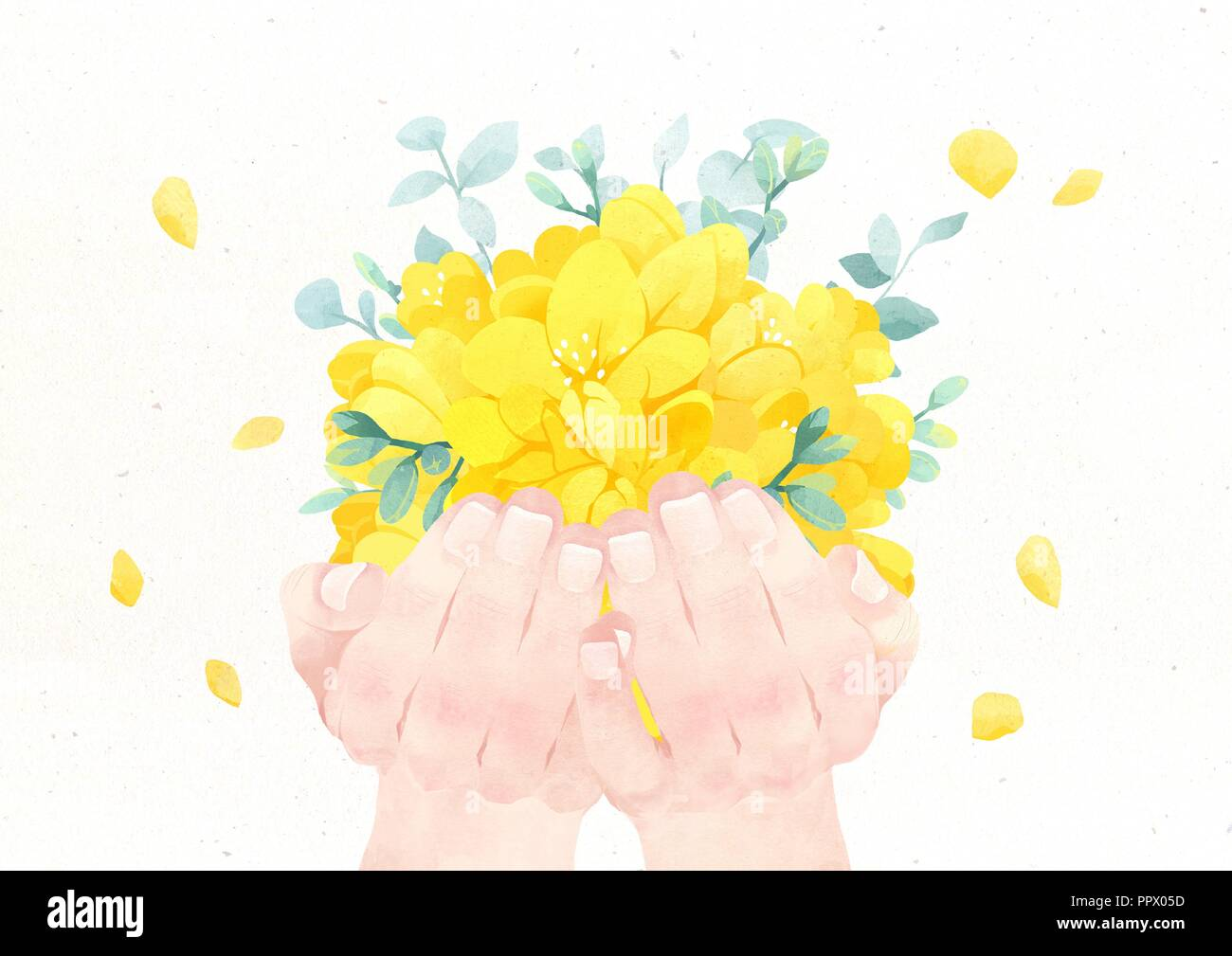 Hands Holding Something Watercolor Hands Drawing Vector Illustration