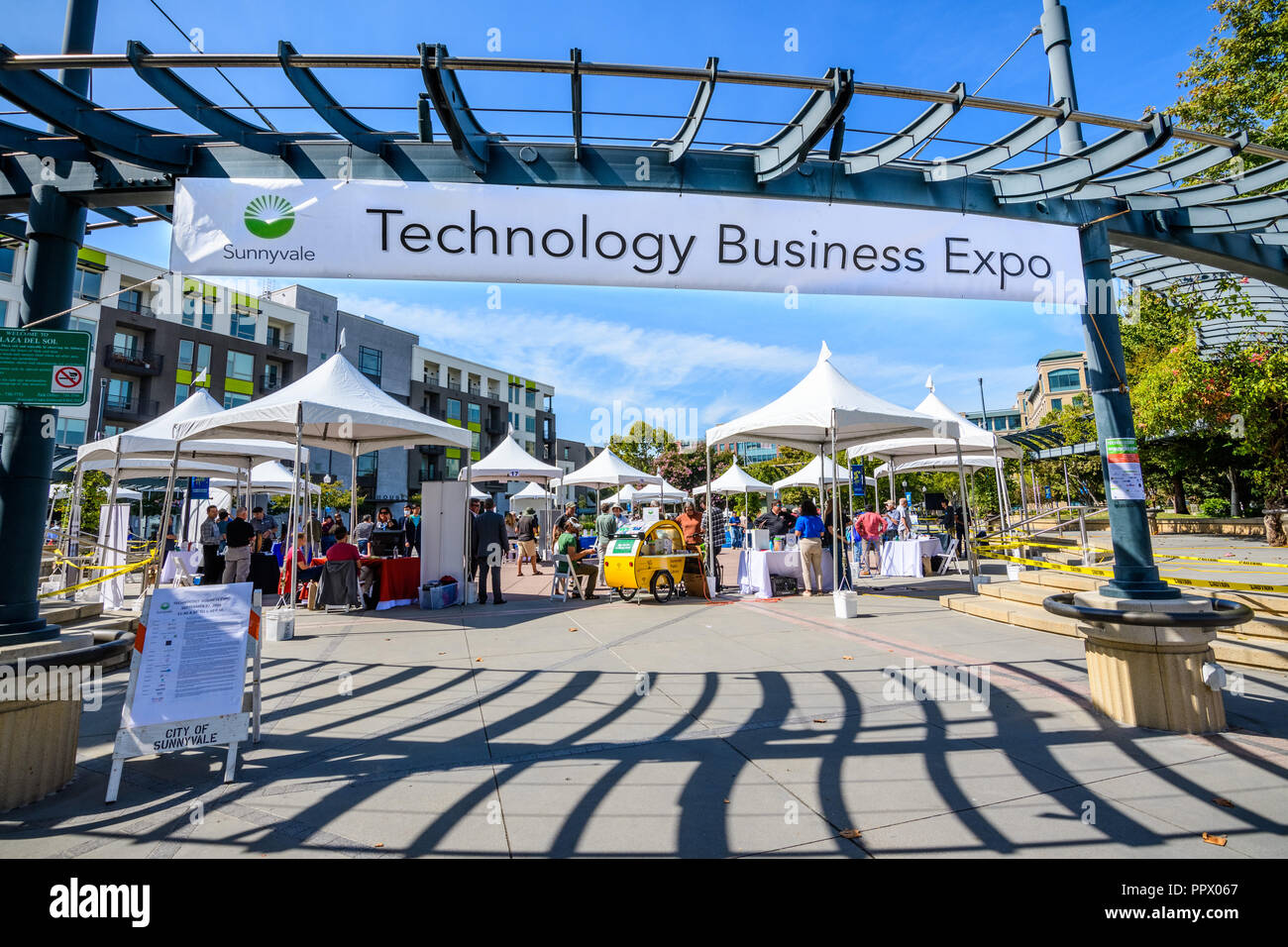 September 27, 2018 Sunnyvale / CA / USA - The 'Technology Business Expo' in the downtown area showcasing products created by local businesses - Stock Image