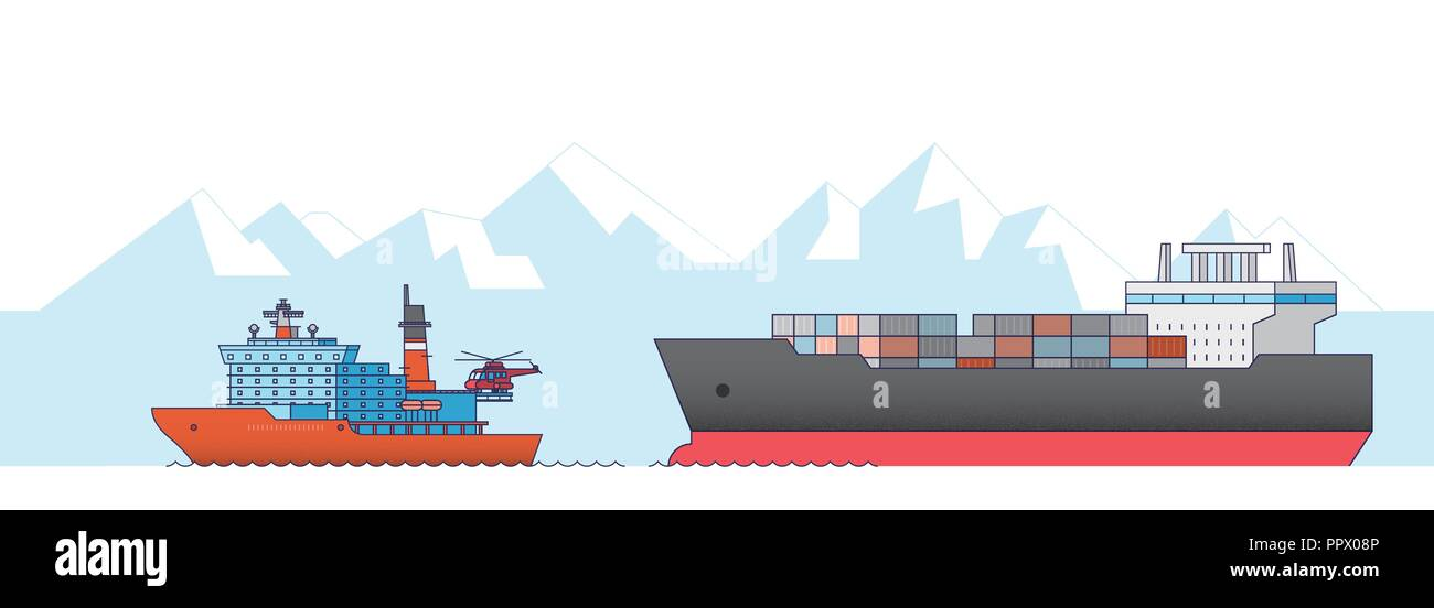 International Freight Transportation by sea, air, rail and road. all kinds of logistic vector illustration. 009 - Stock Image
