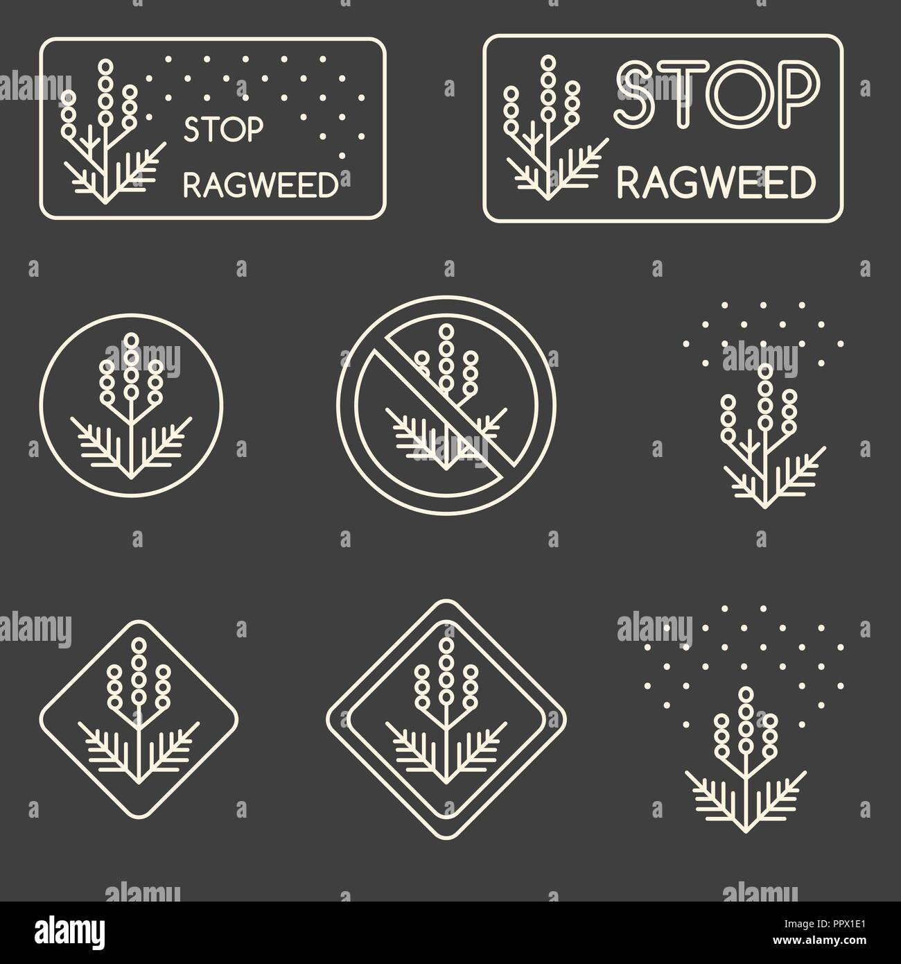 Set of minimalist linear signs about ragweed, dangerous weed, allergy cause Stock Vector
