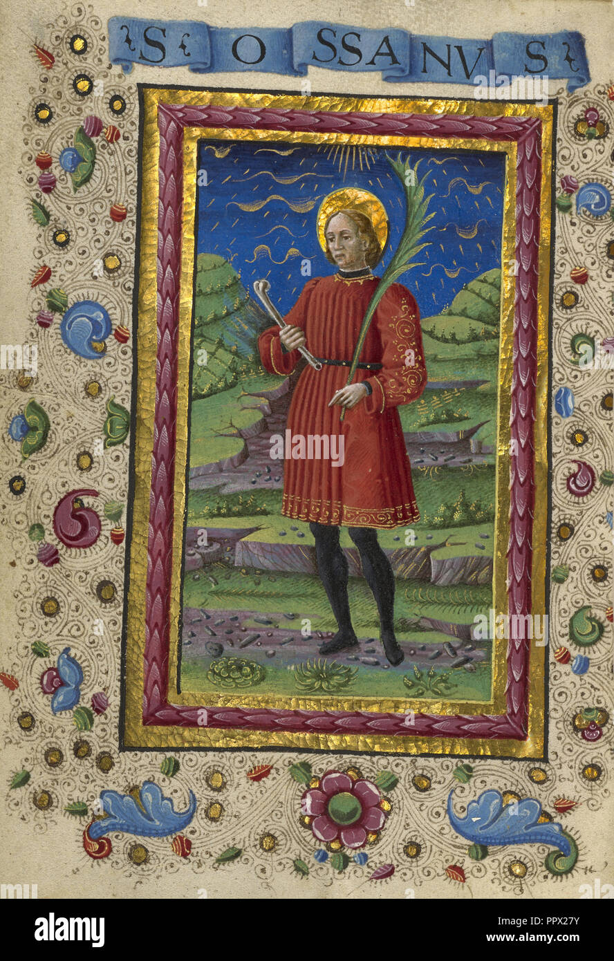 Saint Ossanus; Guglielmo Giraldi, Italian, active 1445 - 1489, Ferrara, Emilia-Romagna, Italy; about 1469; Tempera colors, gold Stock Photo
