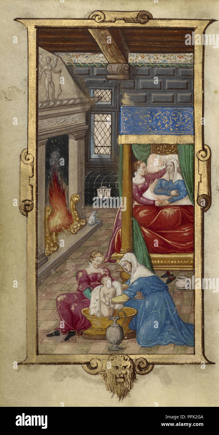 The Birth of the Virgin; Paris, France; 1544; Tempera colors and gold paint on uterine parchment; Leaf: 14.3 x 8.1 cm - Stock Image