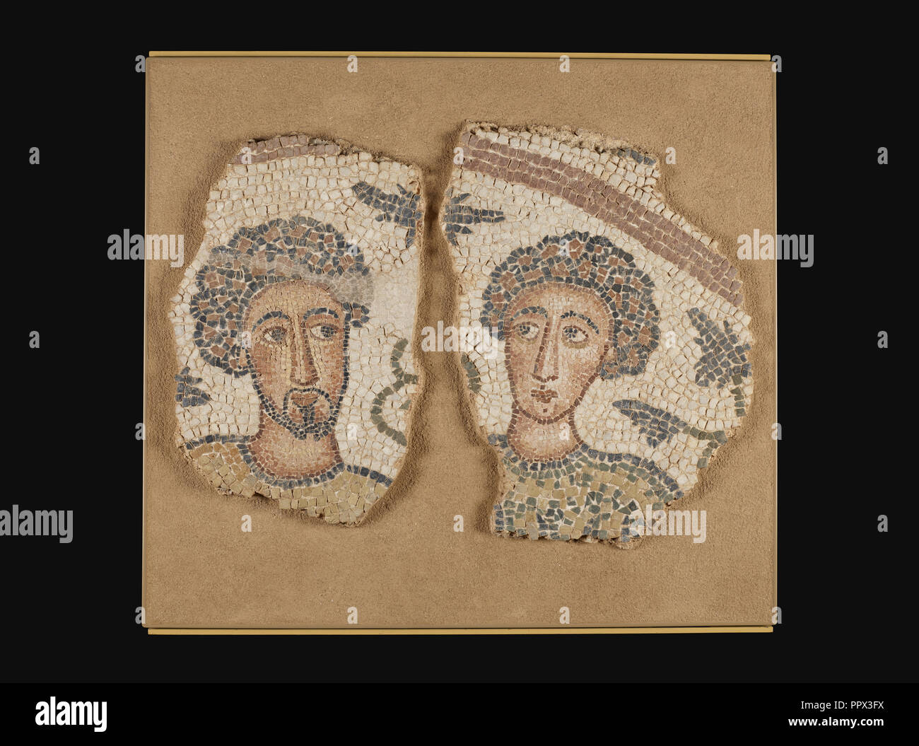 Mosaic Fragments, 2, Eastern Mediterranean, ?, 5th century; Stone and concrete; 48 × 68 cm, 18 7,8 × 26 3,4 in - Stock Image