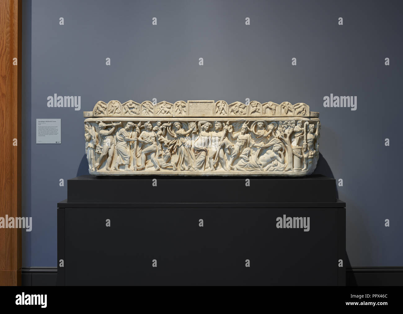 Sarcophagus with Scenes of Bacchus; Roman Empire; A.D. 210–220; Marble - Stock Image