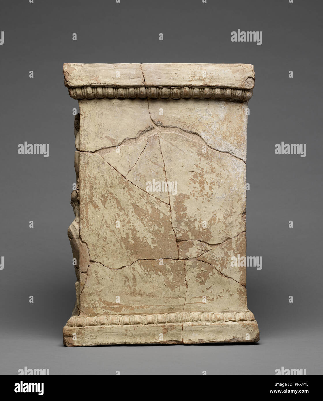 Altar with the Myth of Adonis; Calabria, Italy; 425 - 375 B.C; Terracotta with yellowish diluted clay, white slip and polychromy - Stock Image