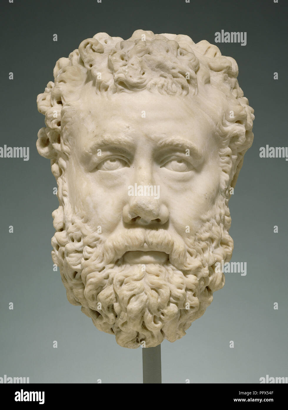 Head of a Bearded Man; Greece, ?, 200 - 225; Marble; 33.4 × 23 × 25.5 cm, 13 1,8 × 9 1,16 × 10 1,16 in - Stock Image
