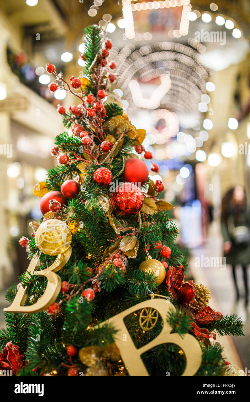 Photo Of Decorated Christmas Tree In Store Stock Photo 220622835