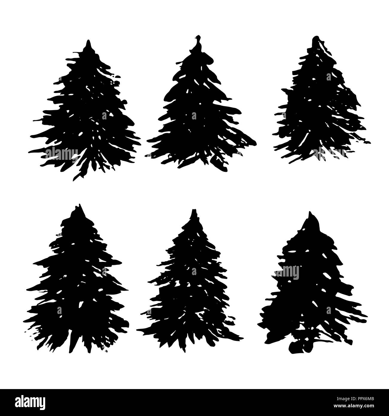 Set of fir tree silhouettes. Black grunge Christmas tree collection. Watercolor spruces isolated on white background. Vector illustration. - Stock Vector