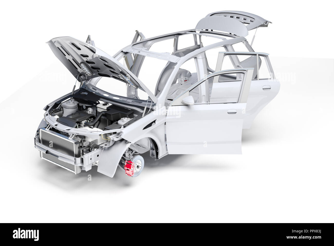 3d car frame body on white background Stock Photo: 220623974 - Alamy