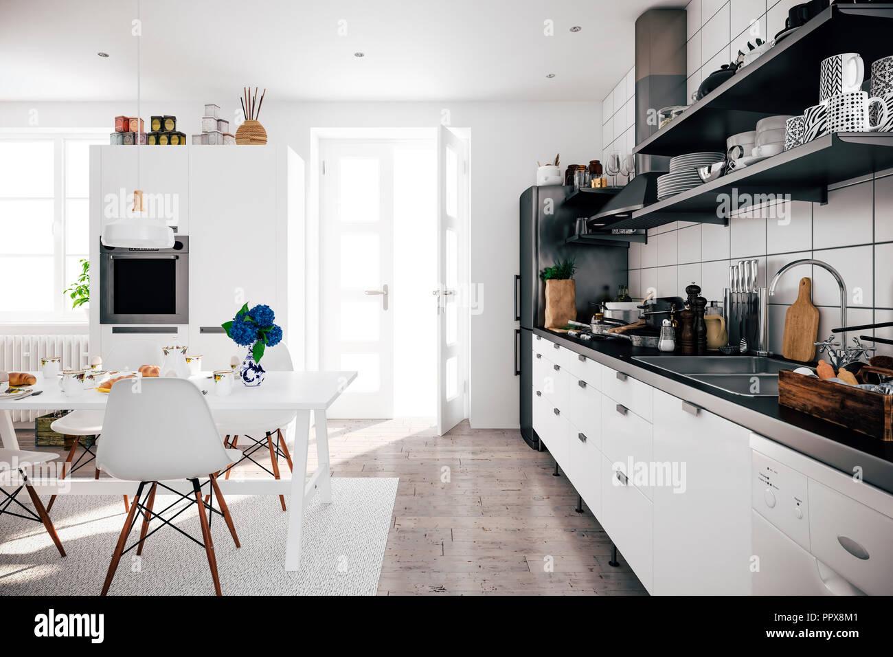 3d Render Of Beautiful Scandinavian Kitchen Design Stock Photo Alamy
