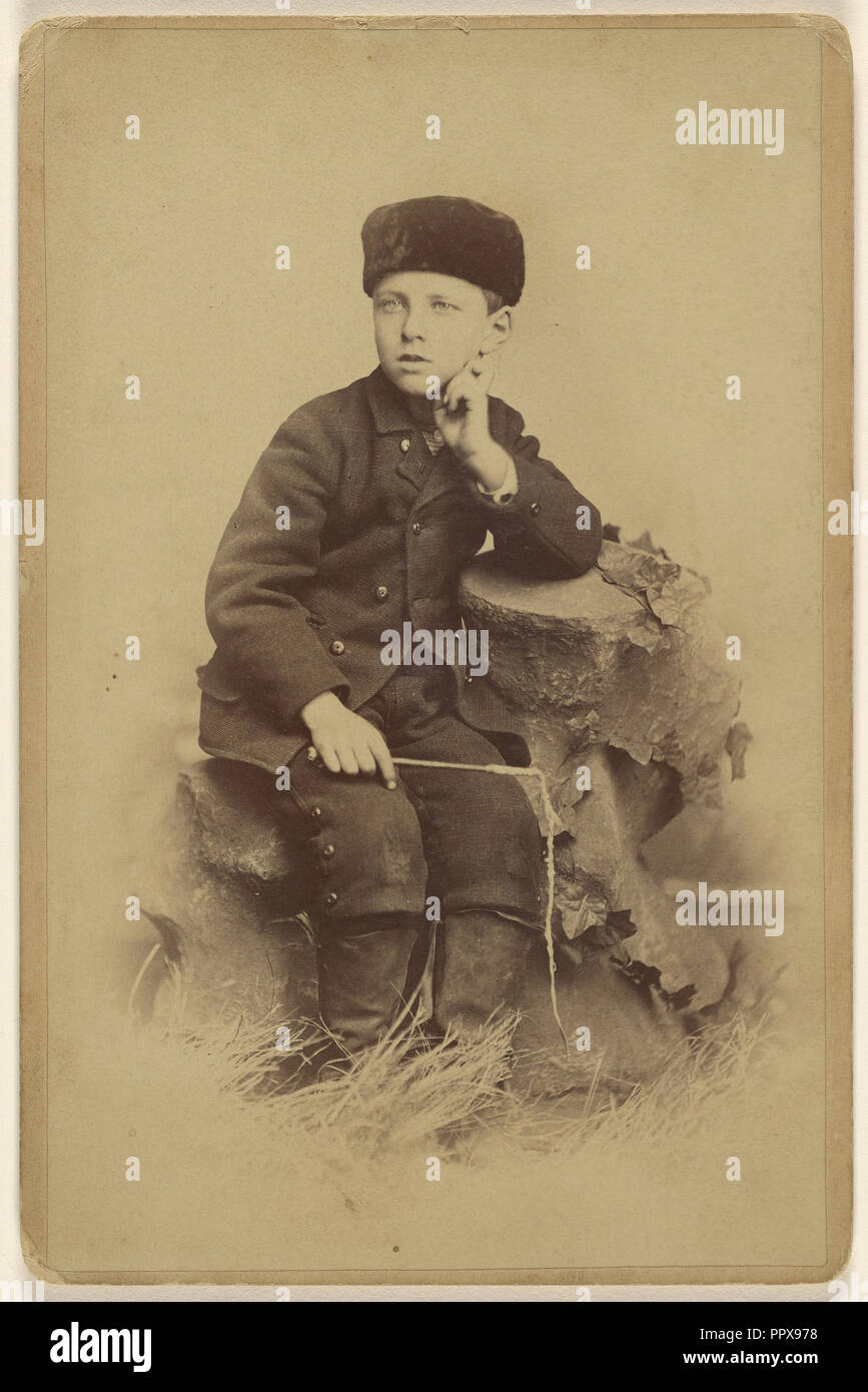 Lloyd C. Harner. 7 years old. May 2d 1882; Harner, American, active Boone, Iowa 1880s, 1882; Albumen silver print - Stock Image