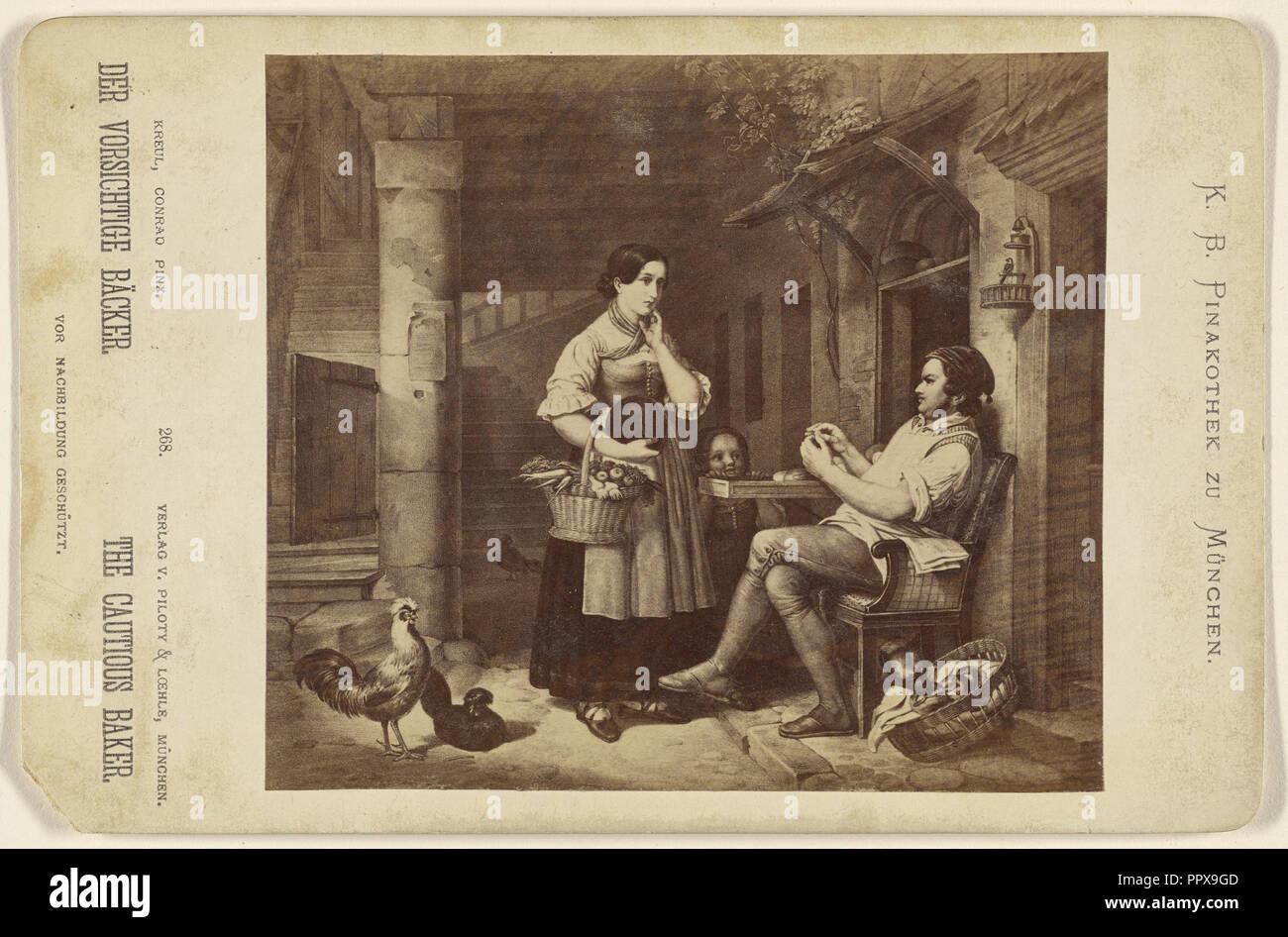 Der Vorsichtige Backer The Cautious Baker. painting by Conrad Kreul; Piloty & Loehle; about 1875; Albumen silver print - Stock Image