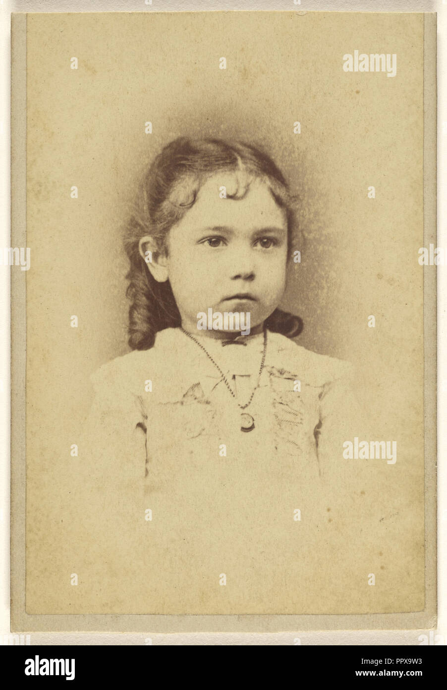 little girl; J.W. Emery, American, active 1860s, 1870s; Albumen silver print - Stock Image