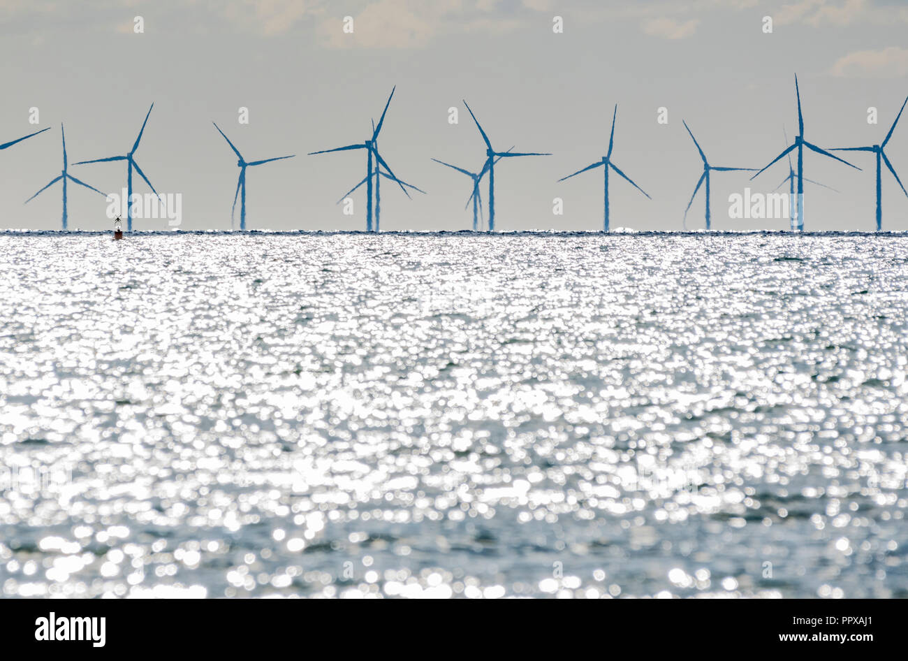 Rampion Wind Farm turbines in the sea off the South Coast of England, UK. Renewable green energy. - Stock Image