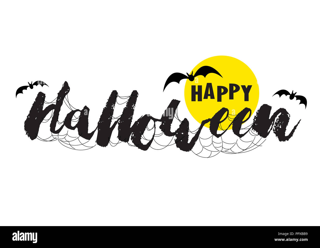 Happy Halloween vector with brush lettering. Web, cobweb, full moon and bats flying on Happy Halloween text banner. - Stock Image