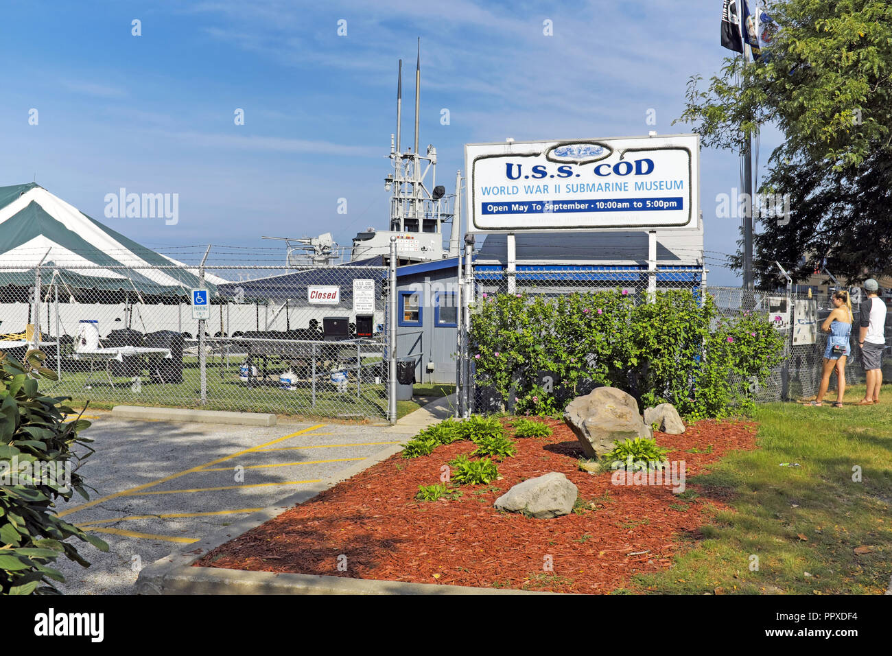 U.S.S. Cod World War II Submarine Museum in the North Coast Harbor of Cleveland, Ohio, USA. - Stock Image